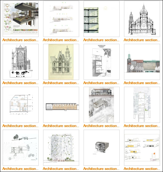 Architecture Sections Gallery V.2 - Architecture Autocad Blocks,CAD Details,CAD Drawings,3D Models,PSD,Vector,Sketchup Download