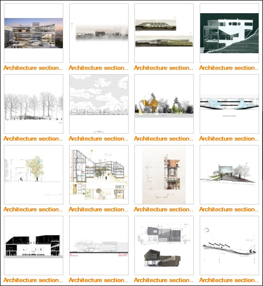 Architecture Sections Gallery V.3 - Architecture Autocad Blocks,CAD Details,CAD Drawings,3D Models,PSD,Vector,Sketchup Download