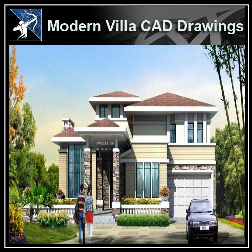 ★Modern Villa CAD Plan,Elevation Drawings Download V.13 - Architecture Autocad Blocks,CAD Details,CAD Drawings,3D Models,PSD,Vector,Sketchup Download