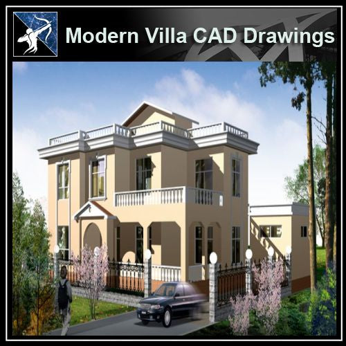 ★Modern Villa CAD Plan,Elevation Drawings Download V.9 - Architecture Autocad Blocks,CAD Details,CAD Drawings,3D Models,PSD,Vector,Sketchup Download