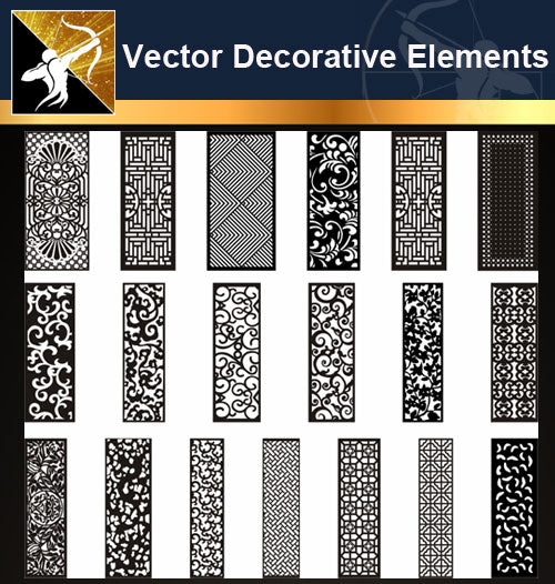 ★Vector Decoration Design Elements V.18-Download Illustration AI Vector Files - Architecture Autocad Blocks,CAD Details,CAD Drawings,3D Models,PSD,Vector,Sketchup Download