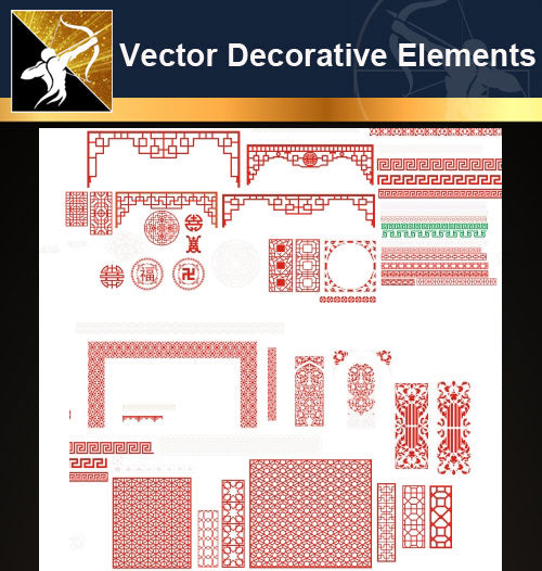 ★Vector Decoration Design Elements V.23-Download Illustration AI Vector Files - Architecture Autocad Blocks,CAD Details,CAD Drawings,3D Models,PSD,Vector,Sketchup Download