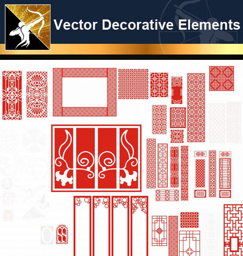 ★Vector Decoration Design Elements V.24-Download Illustration AI Vector Files - Architecture Autocad Blocks,CAD Details,CAD Drawings,3D Models,PSD,Vector,Sketchup Download