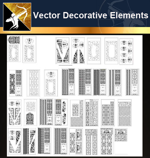 ★Vector Decoration Design Elements V.27-Download Illustration AI Vector Files - Architecture Autocad Blocks,CAD Details,CAD Drawings,3D Models,PSD,Vector,Sketchup Download
