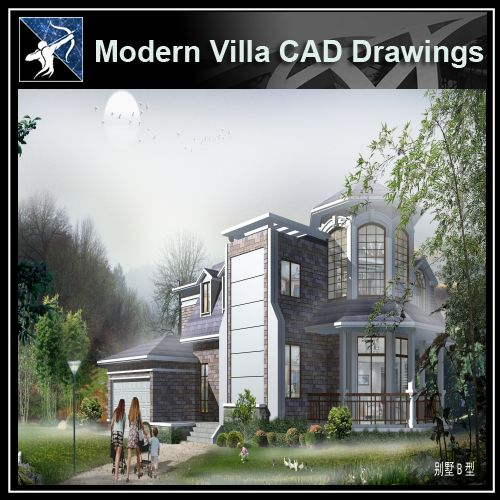 ★Modern Villa CAD Plan,Elevation Drawings Download V.25 - Architecture Autocad Blocks,CAD Details,CAD Drawings,3D Models,PSD,Vector,Sketchup Download