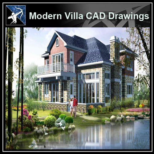 ★Modern Villa CAD Plan,Elevation Drawings Download V.10 - Architecture Autocad Blocks,CAD Details,CAD Drawings,3D Models,PSD,Vector,Sketchup Download