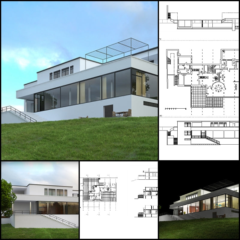 【Famous Architecture Project】Tugendhat House-Mies Van Der Rohe-CAD Drawings