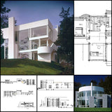【Famous Architecture Project】Villa inspired from Richard Meier's house-Architectural CAD Drawings - Architecture Autocad Blocks,CAD Details,CAD Drawings,3D Models,PSD,Vector,Sketchup Download