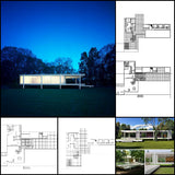 【Famous Architecture Project】Ludwig Mies van der Rohe - Farnsworth House-Architectural CAD Drawings - Architecture Autocad Blocks,CAD Details,CAD Drawings,3D Models,PSD,Vector,Sketchup Download