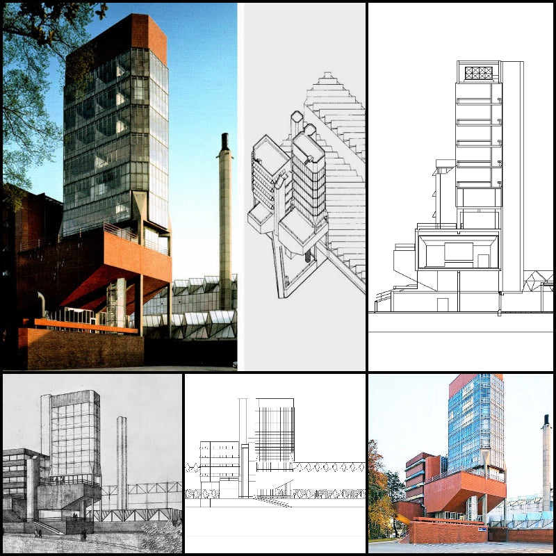 【Famous Architecture Project】University of Leicester-James Stirling-Architectural CAD Drawings