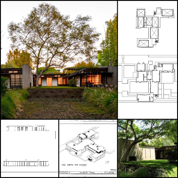 【World Famous Architecture CAD Drawings】Schindler House-Rudolf Schindler - Architecture Autocad Blocks,CAD Details,CAD Drawings,3D Models,PSD,Vector,Sketchup Download