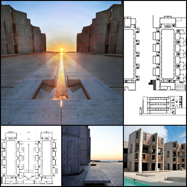 【World Famous Architecture CAD Drawings】Salk Institute -Louis Kahn - Architecture Autocad Blocks,CAD Details,CAD Drawings,3D Models,PSD,Vector,Sketchup Download
