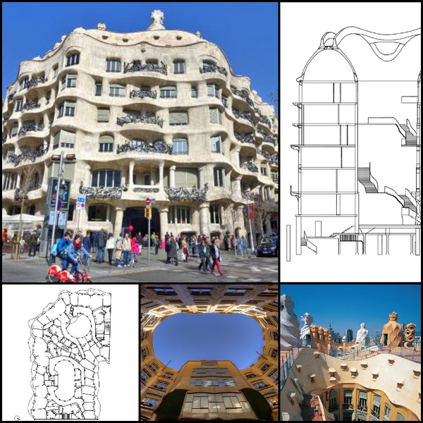 【World Famous Architecture CAD Drawings】Casa Mila-Antoni Gaudi - Architecture Autocad Blocks,CAD Details,CAD Drawings,3D Models,PSD,Vector,Sketchup Download