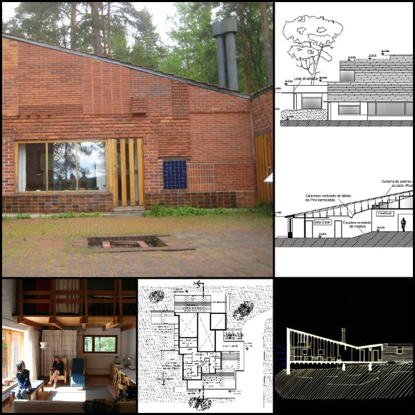 【World Famous Architecture CAD Drawings】Alvar aalto-Summer House - Muuratsalo Experimental House - Architecture Autocad Blocks,CAD Details,CAD Drawings,3D Models,PSD,Vector,Sketchup Download