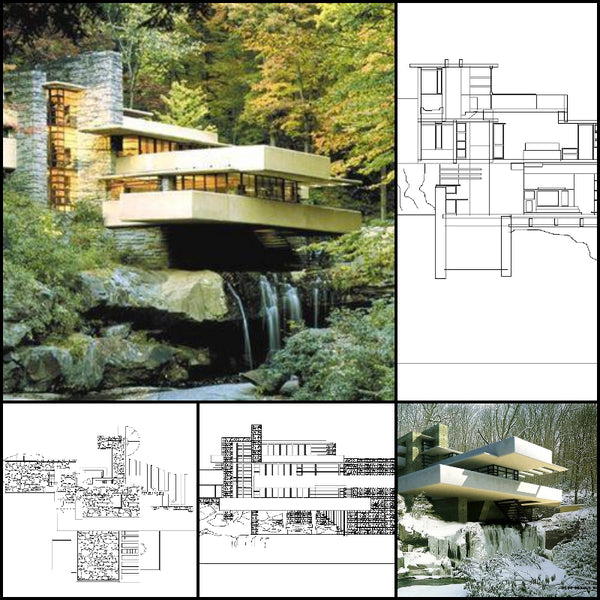 【World Famous Architecture CAD Drawings】Fallingwater House- Frank Lloyd Wright