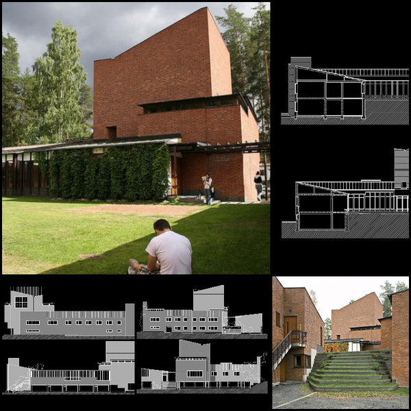 【World Famous Architecture CAD Drawings】 Town Council-Alvar Aalto