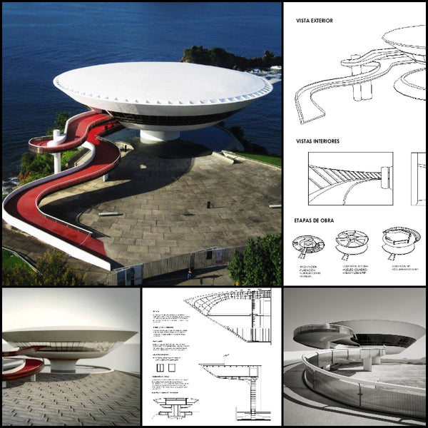 【World Famous Architecture CAD Drawings】Museum of Contemporary Art in Niterói, Rio de Janeiro by Oscar Niemeyer - Architecture Autocad Blocks,CAD Details,CAD Drawings,3D Models,PSD,Vector,Sketchup Download