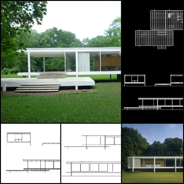 【World Famous Architecture CAD Drawings】Farnsworth House-Ludwig Mies van der Rohe - Architecture Autocad Blocks,CAD Details,CAD Drawings,3D Models,PSD,Vector,Sketchup Download