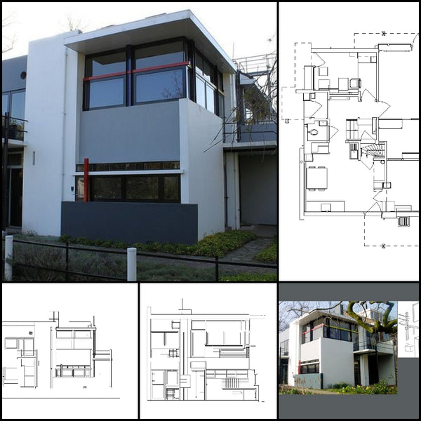 【World Famous Architecture CAD Drawings】Schroder House-Gerrit Rietveld - Architecture Autocad Blocks,CAD Details,CAD Drawings,3D Models,PSD,Vector,Sketchup Download