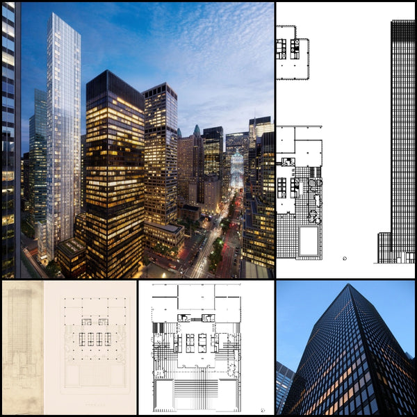 【World Famous Architecture CAD Drawings】Seagram Building-Mies van der Rohe - Architecture Autocad Blocks,CAD Details,CAD Drawings,3D Models,PSD,Vector,Sketchup Download