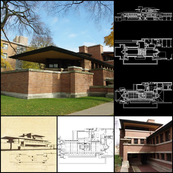 【World Famous Architecture CAD Drawings】Frank lloyd wright- Robie house