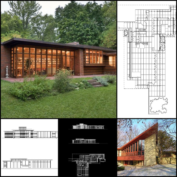 【World Famous Architecture CAD Drawings】Herbert and Katherine Jacobs House-Frank Lloyd Wright