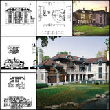 ★【Villa CAD Design,Details Project V.3-Italian Tuscany Style】Chateau,Manor,Mansion,Villa@Autocad Blocks,Drawings,CAD Details,Elevation - Architecture Autocad Blocks,CAD Details,CAD Drawings,3D Models,PSD,Vector,Sketchup Download