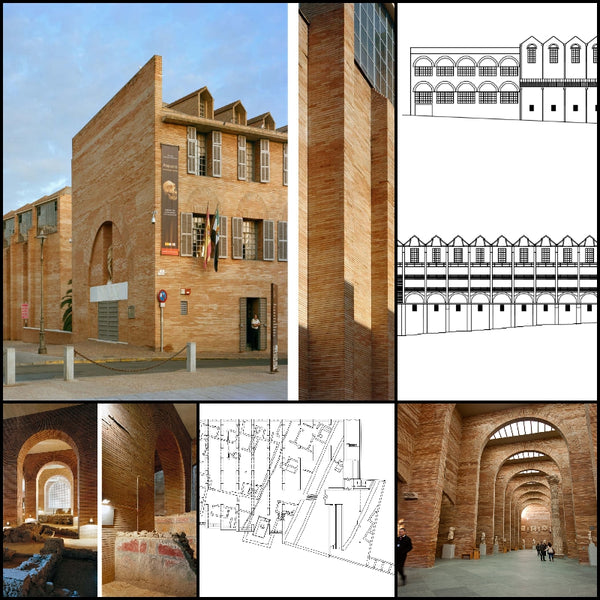 【World Famous Architecture CAD Drawings】 National Museum of Roman Art -Rafael Moneo