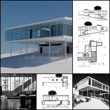 【World Famous Architecture CAD Drawings】Casa de Vidrio - Lina Bo Bardi - Architecture Autocad Blocks,CAD Details,CAD Drawings,3D Models,PSD,Vector,Sketchup Download
