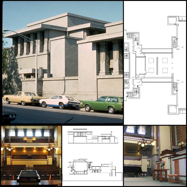 【World Famous Architecture CAD Drawings】Unity Temple-Frank Lloyd Wright