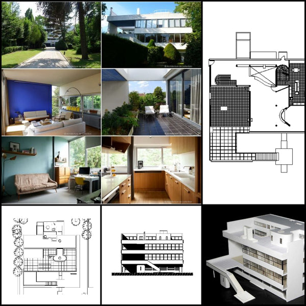 【World Famous Architecture CAD Drawings】Le Corbusier- Villa Stein - Architecture Autocad Blocks,CAD Details,CAD Drawings,3D Models,PSD,Vector,Sketchup Download