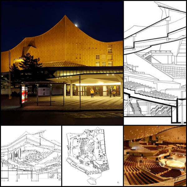 【World Famous Architecture CAD Drawings】Hans Scharoun's Berliner Philharmonie