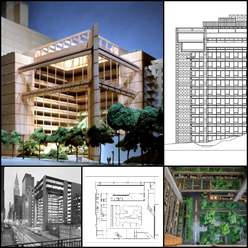 【World Famous Architecture CAD Drawings】🕌 The Ford Foundation-Kevin Roche John Dinkeloo and Associates