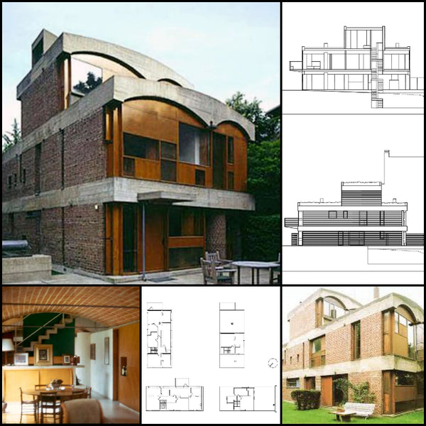 【World Famous Architecture CAD Drawings】Le Corbusier - Projects - Maison de week-end Jaoul - Architecture Autocad Blocks,CAD Details,CAD Drawings,3D Models,PSD,Vector,Sketchup Download
