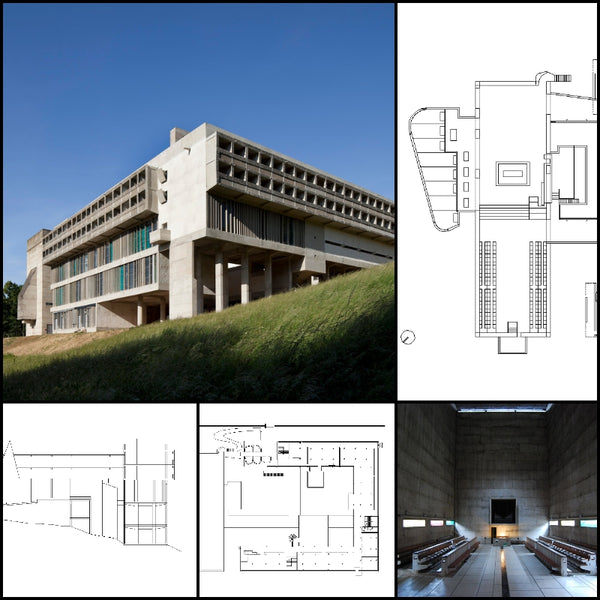 【World Famous Architecture CAD Drawings】Couvent Sainte-Marie de La Tourette - Le Corbusier - 1959 - Architecture Autocad Blocks,CAD Details,CAD Drawings,3D Models,PSD,Vector,Sketchup Download