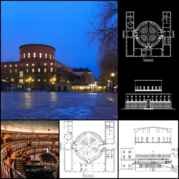 【World Famous Architecture CAD Drawings】 Stockholms stadsbibliotek-Gunnar Asplund - Architecture Autocad Blocks,CAD Details,CAD Drawings,3D Models,PSD,Vector,Sketchup Download