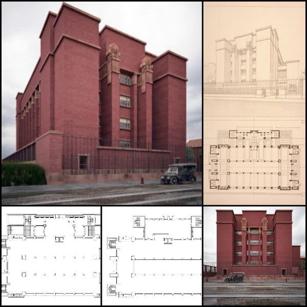 【World Famous Architecture CAD Drawings】Larking BuiIding-Frank Lloyd Wright