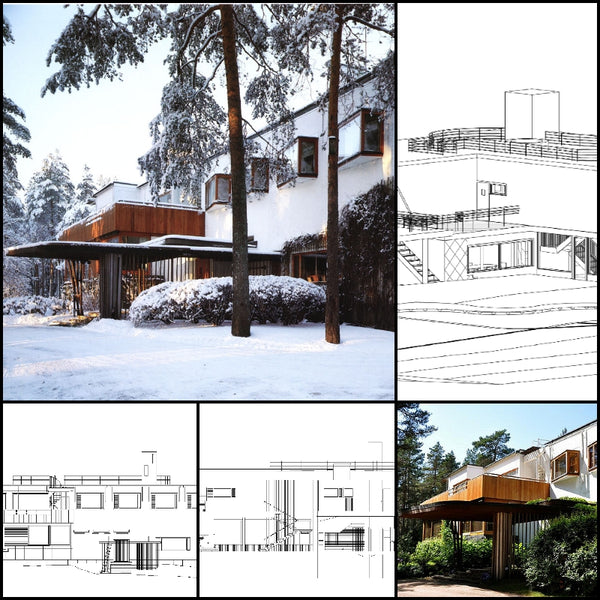 【World Famous Architecture CAD Drawings】Villa Mairea-Alvar Aalto - Architecture Autocad Blocks,CAD Details,CAD Drawings,3D Models,PSD,Vector,Sketchup Download