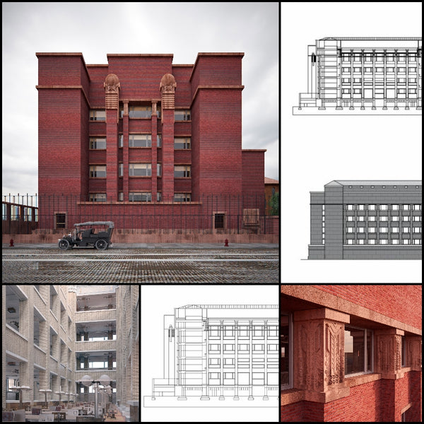 【World Famous Architecture CAD Drawings】Larkin Company Administration Building | Frank Lloyd Wright - Architecture Autocad Blocks,CAD Details,CAD Drawings,3D Models,PSD,Vector,Sketchup Download