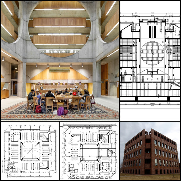 【World Famous Architecture CAD Drawings】Exeter Library by Louis I. Kahn architect, at Exeter, New Hampshire, 1967 to 1972