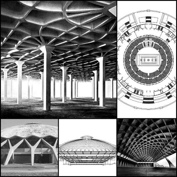 【World Famous Architecture CAD Drawings】 PalaLottomatica-Pier Luigi Nervi-Palazzo dello Sport o PalaLottomatica (PalaEUR) - Architecture Autocad Blocks,CAD Details,CAD Drawings,3D Models,PSD,Vector,Sketchup Download