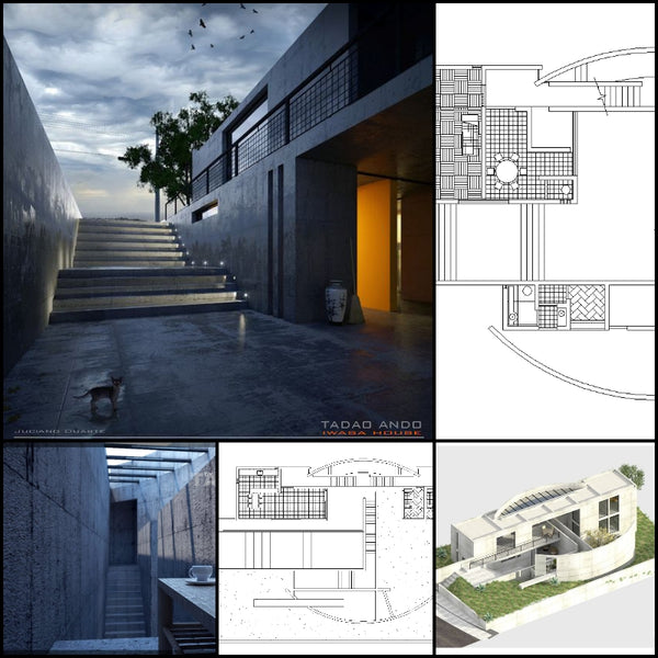 【World Famous Architecture CAD Drawings】TADAO ANDO - Iwasa House - Architecture Autocad Blocks,CAD Details,CAD Drawings,3D Models,PSD,Vector,Sketchup Download