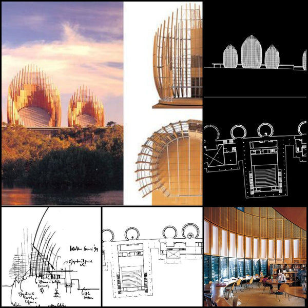 【World Famous Architecture CAD Drawings】Ji Ba Cultural Center-Renzo Piano - Architecture Autocad Blocks,CAD Details,CAD Drawings,3D Models,PSD,Vector,Sketchup Download