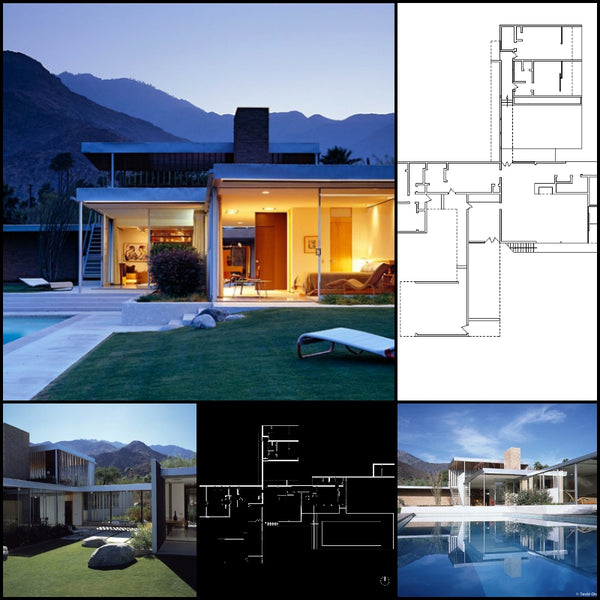 【World Famous Architecture CAD Drawings】Kaufumann Desert House-Richard Neutra in 1946 - Architecture Autocad Blocks,CAD Details,CAD Drawings,3D Models,PSD,Vector,Sketchup Download
