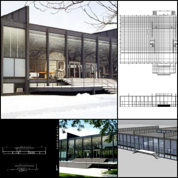 【World Famous Architecture CAD Drawings】Crown Hall- Ludwig Mies van der Rohe - Architecture Autocad Blocks,CAD Details,CAD Drawings,3D Models,PSD,Vector,Sketchup Download