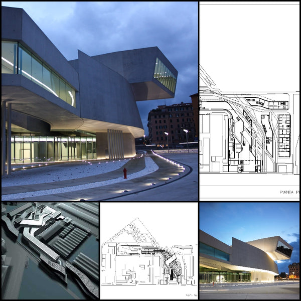 【World Famous Architecture CAD Drawings】MAXXI Museum -Zaha Hadid Architecture Project - Architecture Autocad Blocks,CAD Details,CAD Drawings,3D Models,PSD,Vector,Sketchup Download