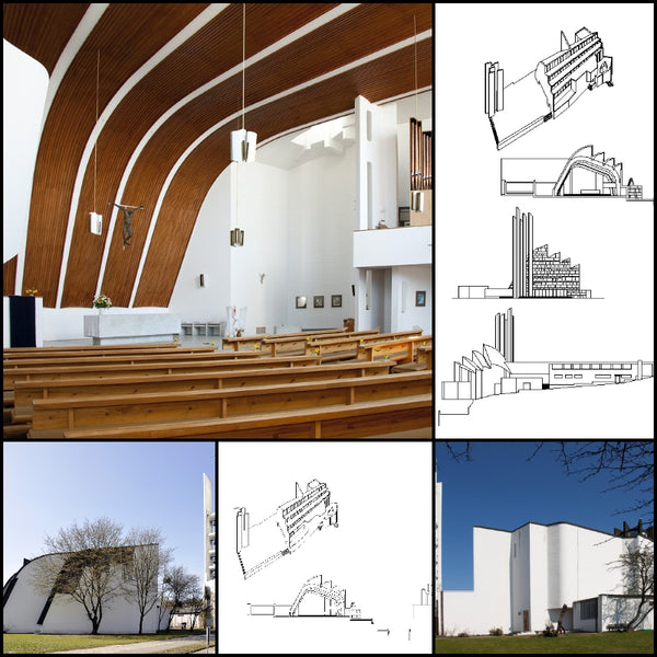 【World Famous Architecture CAD Drawings】Iglesia Riola(Italia) - Alvar Aalto - Architecture Autocad Blocks,CAD Details,CAD Drawings,3D Models,PSD,Vector,Sketchup Download