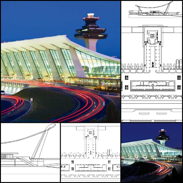 【World Famous Architecture CAD Drawings】Washington Dulles International Airport