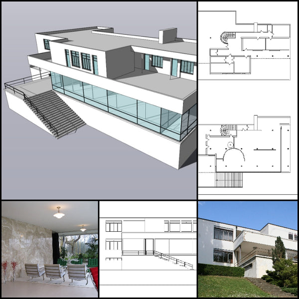 【World Famous Architecture CAD Drawings】Tugendhat Villa-Ludwig Mies van der Rohe - Architecture Autocad Blocks,CAD Details,CAD Drawings,3D Models,PSD,Vector,Sketchup Download