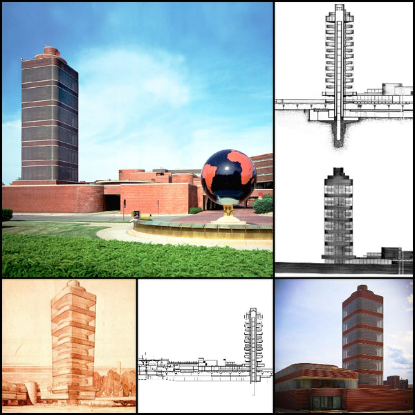 【World Famous Architecture CAD Drawings】SC Johnson Administration Building and Research Tower-Frank Lloyd Wright